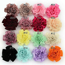 200pcs Mixed Colours Satin Ribbon Flower With Beads Appliques Craft Sewing DIY