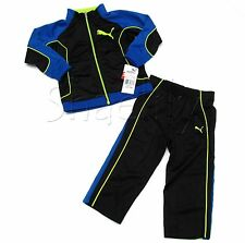 Puma Baby and Toddler Boys Black and Blue Track Suit Jacket and Pants Set