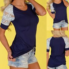 New Womens Ladies Summer Lace Short Sleeve Blouse Casual Tops T-Shirt S-XL S2U