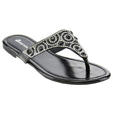 BELLA MARIE BRILLO-3K Girl Shiny Rhinestone Thong Flat Sandal Run One Size Small