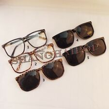 Super Dark Lens Sunglasses Leopard Clear Glasses Square Frame Nerd Oversized Hot