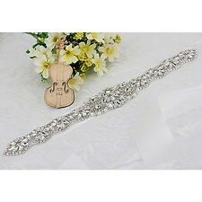 Wedding Bridal Crystal Rhinestones Sash Belt with Satin Ribbon for Wedding Party