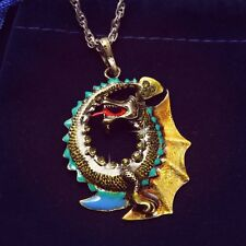 Cool Pterosaur Dragon Crystal Pendant Sweater Necklace Long Sweater Chain Gifts