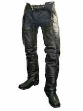 Xelement Mens 7561 Cowhide Leather Black Motorcycle Chaps