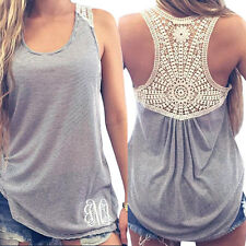 Women Summer Stripe Lace Vest Top Sleeveless Blouse Casual Tank Tops T-Shirt New