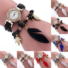 Women Braid Owl Feather Bracelet Crystal Stainless Steel Bead Quartz Wrist Watch