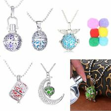 Hollow Lockets Perfume Oil Essential Aromatherapy Diffuser Necklace +6pcs Cotton