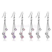 fashion Charm Rhinestone Three Bar Long cute craft dangle earrings jewelry