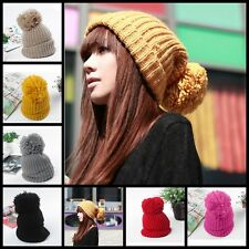 Women Winter Warm Knit Crochet Slouch Baggy Beanie Hat Crochet Ski Cap Beret New