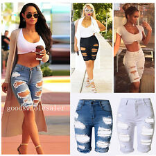 New Womens Ladies Vintage Summer Stretch Ripped Hole Denim Shorts Jeans pants gd