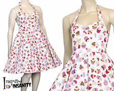 Vintage Kitsch CUPCAKE Rockabilly Swing Dress ~ Retro Pinup Kawaii 50s Plus Size