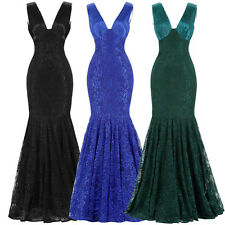 Deep V-Neck Mermaid Lace Ball Gown Evening Prom Party Dress Formal Long Floral
