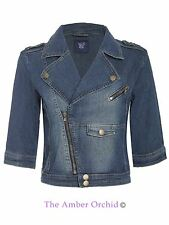 Ladies Womens Cropped Biker Light Wash Denim 3/4 Sleeve Jacket