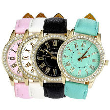 Geneva Women's Leather Band Watch Roman Rhinestone Quartz Wrist Watch Watches
