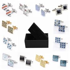 Classic retro series square electroplating paint carved  men's shirt cufflinks