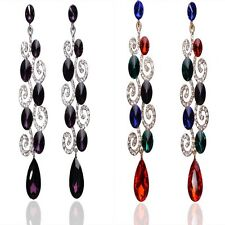Colorful Women 18K Gold Plated Crystal Drop Dangle Earrings Fashion Jewelry