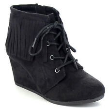 SODA WIG-2 Girl's Comfort Lace Up Fringe Detailing Boho Wedge Booties