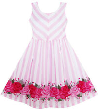 Sunny Fashion Girls Dress Striped Rose Print Tulle Pink Size 7-14