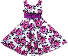 Girls Dress Princess Rose Flower Bow Tie Party Summer Cotton Size 6-12