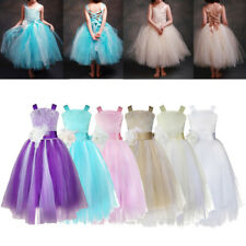 Flower Girl Princess Lace Up Pageant Party Wedding Formal Birthday Dress SZ 2-14