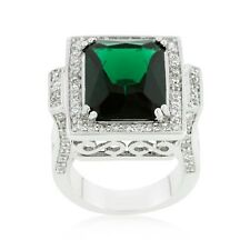 Rhodium Plated Emerald Cut Deco Cocktail Ring Green Cubic Zirconia Size 9 10 USA