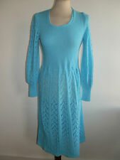 VINTAGE 1970'S 1930'S 1940'S REVIAL STYLE BLUE KNITTED L/S SCOOP NECK DRESS 10