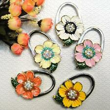Daisy Flower Shape Rhinestone Folding Handbag Purse Hanger Table Hooks Holder