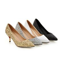 Women's Sequined Synthetic Leather Pointed Toe Shoes Mid Heel Pumps AU Size s913
