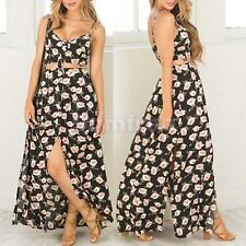 Women Long Summer Flower Chiffon Maxi Dress Boho Casual Beach Dress Sundress