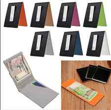 Mens Bifold Leather Purse Silver Money Clip Slim Wallet ID Credit Card Holder