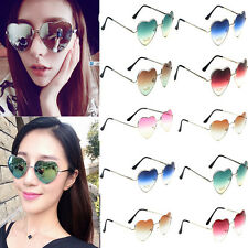 Fashion Women Love Heart Shape Glasses Metal Frame Aviator Sunglasses Eyewear
