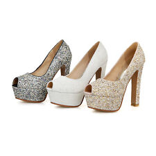 Ladies' Sequined Peep Toes Shoes Platform High Heels Pumps Sandals AU Size S900