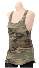 Womens Woodland Camouflage Racerback Tank Top Camo Cotton Sleeveless T-Shirt