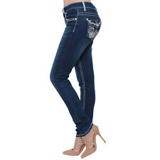 Sexy Couture S192-PS Women's Rhinestone Stud Flap Rear Pockets Skinny Jeans