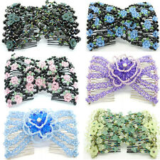 Women's Convenient Magic Beads Double Hair Comb Clip Stretchy Hair Combs Clips