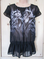 PAPAYA SEMI SHEER BLACK CAP SLEEVE TOP EYE CATCHING ORCHID PRINT SIZE UK 14..