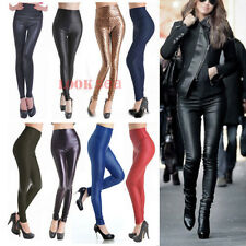 New Womens High Waist Slim Stretch Wet Faux Leather Skinny Tight Pants Leggings