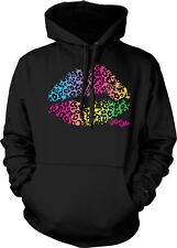 Lips Multi Colored Animal Print Kiss Me Sexy Lipstick Sexual Hoodie Pullover