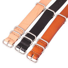 Rings Buckle Solid Black Brown 22mm Real Leather Watch Strap Wristwatch Band