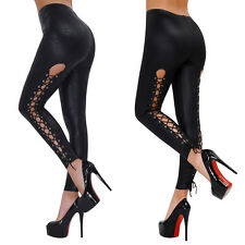 Sexy Women's Black Leggings Lace Up Leather Wet Look PVC Jeggings Tight Pants