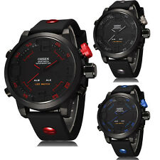 Fashion OHSEN Waterproof Digital LED Day Alarm Military Army Sport Rubber Watch