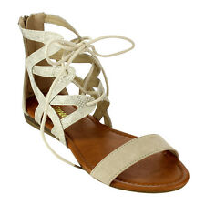 Reneeze AC45 Women's Lace Up Ankle Strap Back Zipper Flat Sandals New In Box