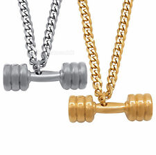 Men Gold/Silver Stainless Steel Dumbbell Pendant with Curb Cuban Chain Necklace