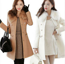New Women Slim Woolen Faux Fur Trench Parka Double-Breasted Winter Coat Jacket