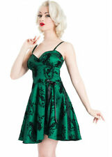 VOODOO VIXEN ROCKABILLY RETRO 50'S SWING FLOCKED TAFETTA GREEN DRESS DRA2301