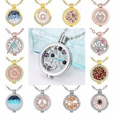 35MM Charms Crystal Coin Floating Holder Locket Pendant Necklace Chain Jewelry