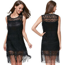 Sexy Lace Sleeveless Party Evening Dresses Summer Cocktail Short Tassel Dress