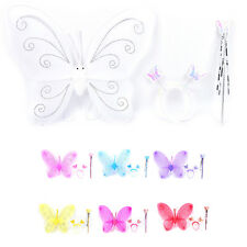 3Pc Set Girls Fairy Costume Butterfly Wings Wand Princess Headband Beauty New