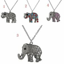 Pop New Retro Fashion Rhinestone Lovely Elephant Pendant Long Chain Necklace New