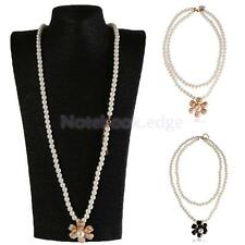 Charm Double Layer Fashion Camellia Flower Pendant Faux Pearl Necklace